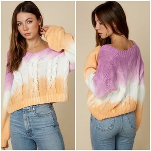 Abbie Cable Knit Ombre Tie Dye Sweater